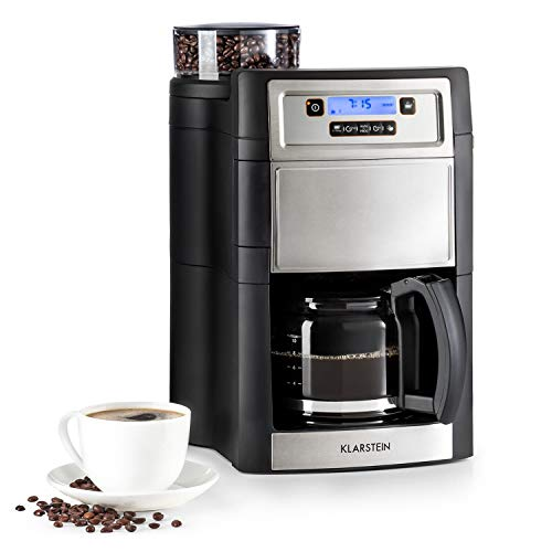 Klarstein Aromatica II - Máquina de café con molinillo cónico, 5 niveles, Jarra de cristal 1,25 L, Temporizador 24h, Filtro de carbón activo, Potencia 1000 W, Antigoteo, Display LED, Plateado