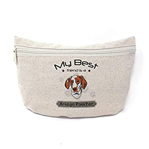 Custom Canvas Makeup Bag My Best Friend Is Ariege Pointer Dog School Supplies Pencil Tote Pouch 9x6 Inches Natural Design Only 14