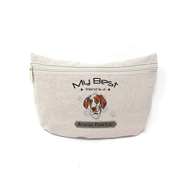 Custom Canvas Makeup Bag My Best Friend Is Ariege Pointer Dog School Supplies Pencil Tote Pouch 9x6 Inches Natural Design Only 1