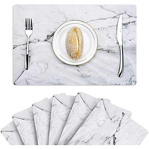 Mesa de mesa de artesanías de cocina 2 PCS Luz nórdica Cuero de Lujo Lugar Occidental Mat Mat Matter Patrón de mármol Aislamiento Impermeable Tabla Magada Taza Y Platillo Mat Para Restaurante, Café y