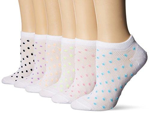 Hanes Women's 6-Pack Invisible Comfort Scoop Cut No Show Sport Liner, White Dot Asst, Shoe Size: 5-9