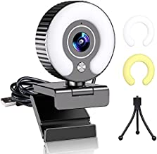 Streaming Webcam with Light Ring and Microphone FHD 1080P for Desktop Computer Web Camera for PC Mac Laptop Macbook Pro, Gaming Webcams USB for Streaming Twitch Xbox One Webex Zoom Skype Mixer YouTube