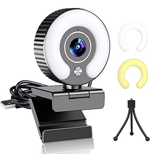 Webcam per PC con Microfono e Luce, 1080P Webcam per Computer Fisso Laptop Webcam Camera per PC Full HD Autofocus USB Webcams per Videoconferenze Lezioni Streaming