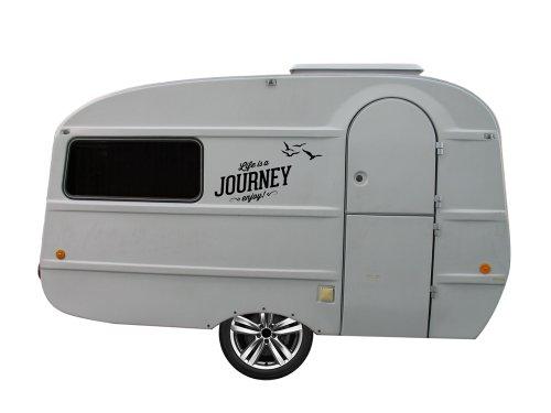 Grafix Wohnwagen Aufkleber für QEK Junior Spruch Journey S-Version (schwarz matt)