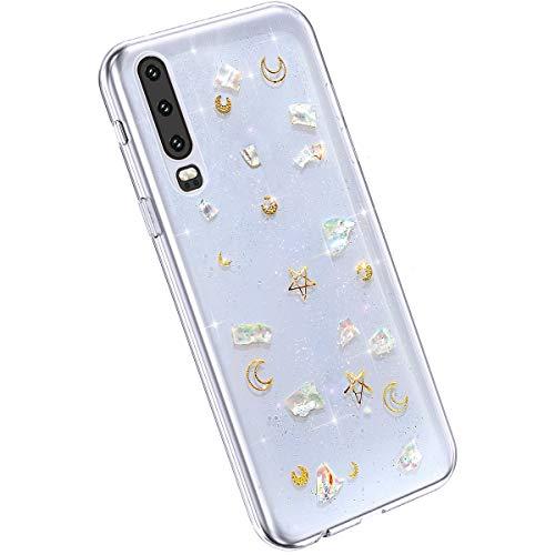 Ysimee Coque Compatible avec Huawei P30 Etui Paillette Brillant Glitter Or Lune Étoilé Mignon Housse en Silicone Transparent Case Ultra Slim Flexible Coque Anti-Scratch TPU Bumper Cover