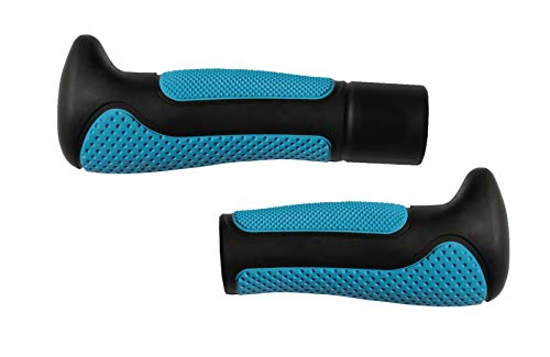 Ergonomic Bicycle Handle Grips – Set of Two/Thermoplastic Elastomers (TPE) / Plastic and Rubber Mix/Commute Leisure Racing/for Bike Handlebars/for Men Women or Children (Blue-Black, Both Long)