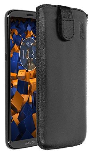 mumbi Echt Ledertasche kompatibel mit Motorola Moto Z3 Play Hülle Leder Tasche Hülle Wallet, schwarz