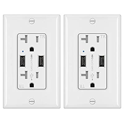 BESTTEN 20 Amp Wall Mount USB Receptacle Outlet with 2 Charging Ports (3.4A Shared), Screwless Wall Plates Included, UL Listed, White[2 Pack]