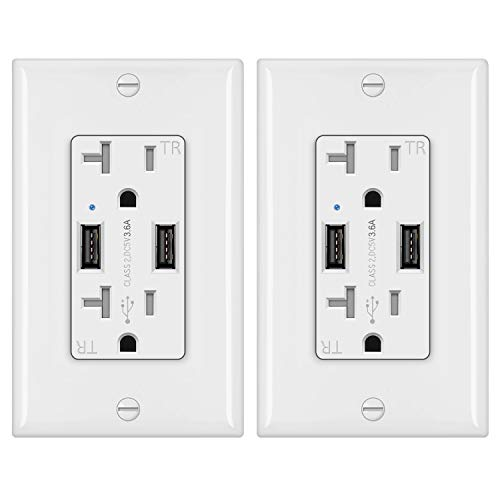 [2 Pack] BESTTEN 3.6A Dual USB Receptacle Outlet with 20 Amp AC Outlets, Smart Chip USB Charger, Wallplate Included, UL Listed, White