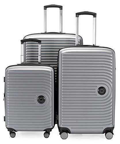 HAUPTSTADTKOFFER - Mitte – 3er Kofferset - Kabinentrolley 55 cm, mittelgroßer Koffer 68 cm + großer Reisekoffer 77 cm, Hartschale ABS, TSA, Silber matt