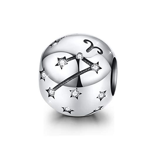 Ciondolo, del leone, in argento sterling, con segno zodiacale, 12 costellazioni, compatibile con braccialetti e collane Pandora Aries(3.21-4.19)