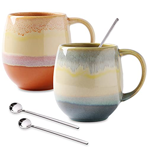 Large Coffee Mugs 16 oz for Men/Women, Vivimme Coffee Mug Set with Spoons, 2-Pack Ceramic Tea Mug for Soup, Hot Cocoa, Funny Tea Cups for Office and Home, Coffee Mugs for Couples, Engagement Gifts