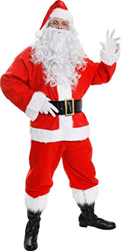 SANTA CLAUS COSTUME - 7 PIECE FATHER CHRISTMAS FANCY DRESS COSTUME - RED SANTA JACKET WITH FAUX FUR TRIMMING, RED TROUSERS, SANTA HAT, BOOT COVERS, BELT, WHITE WIG AND BEARD (X-LARGE)