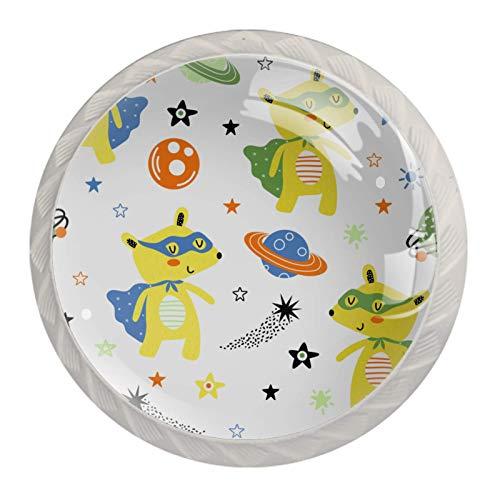 Perillas de gabinete de cocina Perillas decorativas redondas Gabinete Cajones de armario Tirador de tocador 4PCS Oso Espacio Planeta Estrellas Blanco