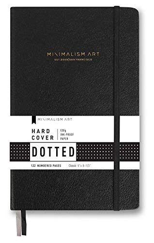 "Minimalism Art, Premium Hard Cover Notebook Journal, Small, Classic 5"" x 8.3"", Dotted Grid Page, Black, 122 Numbered Pages, Gusseted Pocket, Ribbon Bookmark, Ink-Proof Paper 120gsm, San Francisco"