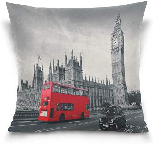 Csoos Throw Pillow Case Funda de cojín Funda de Almohada Cuadrada Multifuncional, London City Big Ben Red Bus Sofá Cama Funda de Almohada