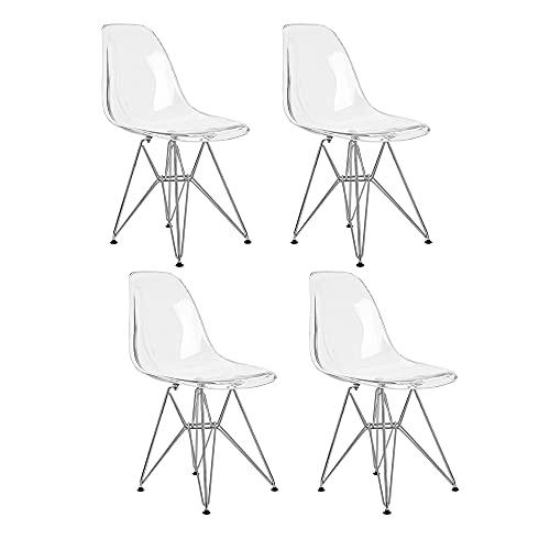 Lot de 4 Ghost Chaises en Polycarbonate, Acier pour Salle à Manger, Salon, Bureau, 40 x 46 x 86 cm, Transparent