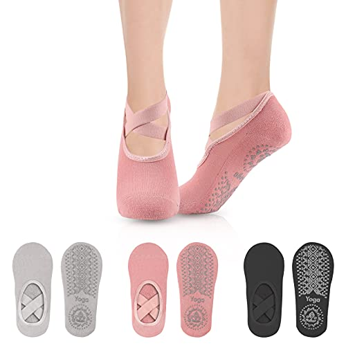 Comius Sharp Calcetines de Yoga para Mujer, 3 Piezas Calcetines Antideslizantes para Mujer, Calcetines De Yoga Para Mujer, Pilates Calcetines De Yoga, Calcetines para Yoga y Pilates Mujer Hombre