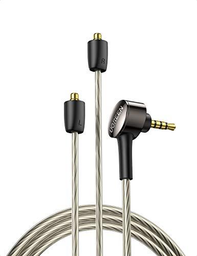 UGREEN MMCX Kabel, 2.5MM auf Zwei MMCX Symmetrisch Audio Kabel, Abnehmbar Kopfhörerkabel Audio Ersatzkabel (1.2m)