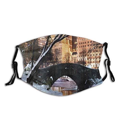 KOSALAER Face Cover NYC New York City Manhattan Central Park Seebrücke im eiskalten Winter bei Dämmerungspanorama Wiederverwendbare Anti-Staub-Mund-Bandanas mit 2 Filtern