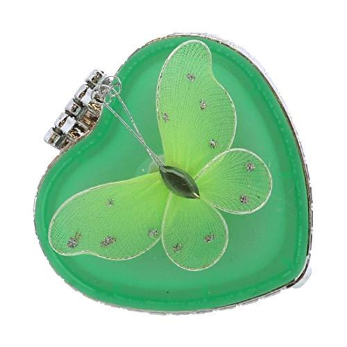 Li'Shay Glass Heart Shaped Trinket Jewelry Box with Butterfly - Green