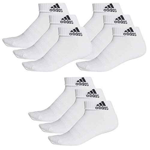 adidas 9 Paar Performance Sneaker/Quarter Socken Unisex Kurzsocke, Farbe:White, Socken & Strümpfe:43-45