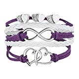 LovelyJewelry Leather Wrap Bracelets Girls Double Hearts Infinity Rope Wristband Bracelets Gifts (Purple 2)