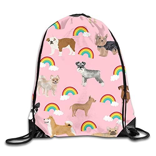 Dyfcnaiehrgrf Lindo perro 3d impresión con cordón mochila hombro bolsas gimnasio casual corriendo Daypack un tamaño