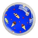 Gelato di cartone animato Bianca Pomelli per Mobili per cassetti in cristallo Maniglie per porte per mobili Maniglie per guardaroba Maniglie con viti per cucina domestica Ufficio 4 pezzi 35mm