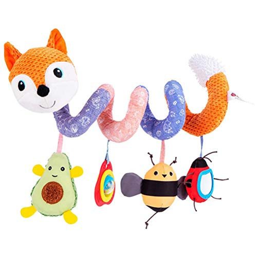 YsaAsaa Juguetes para cochecito de bebé, juguetes de peluche en espiral, juguete de peluche con música, juguetes educativos para niños y niñas