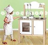 Unbekannt Combi-Küche / Kinderküche in Weiss mit Zubehör aus Holz / Maße: 54 x 83,5 x 30 cm - Arbeitshöhe: 48 cm / mit Aufbauanleitung