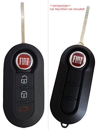CK+ Fiat Auto-Schlüssel Hülle Key Cover Case Etui Silikon für 500 L Panda Punto Bravo Ducato Cinquecento - Schwarz
