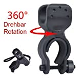 Leegoal Bicycle Bike Flashlight LED Torch Mount Holder 360 Rotation Cycling Clip Clamp (Black)