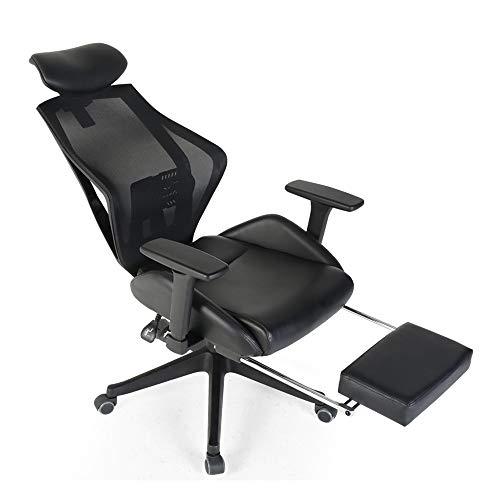 ZHFC Silla de oficina reclinable con respaldo alto, silla de ordenador ergonómica, silla de trabajo, silla de trabajo con reposapiés y soporte de talla, adecuada para el hogar y la oficina
