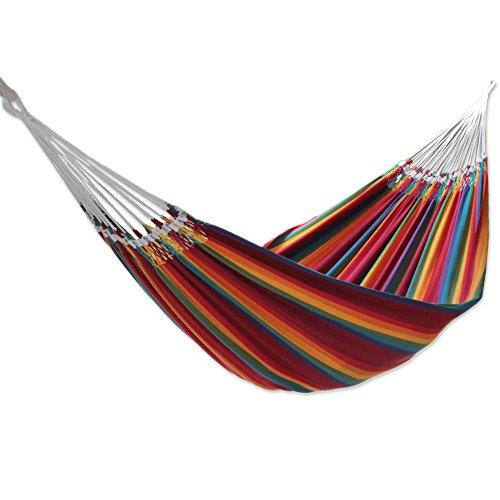 NOVICA Multicolor Rainbow Striped Cotton Fabric 2 Person Brazilian Hammock,