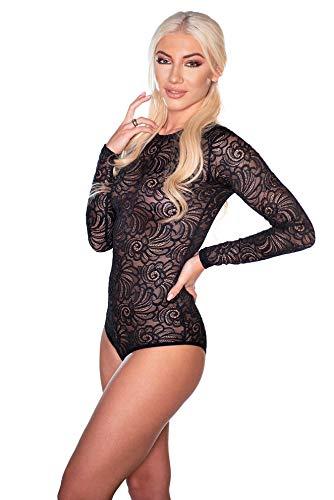 Evoni Damen-Body in Schwarz XL=42 | Bodysuit mit Rundhals für Frauen | Langarm-Body aus Spitze Verschluss | reizvolle Damen-Wäsche mit optimaler Passform | Top Overall
