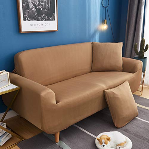 jHuanic Allinclusive Sofa-Schonbezüge, elastisch, Möbelschutz, tragbar, ohne Kissen, einfarbig, Khaki, zwei Sitze