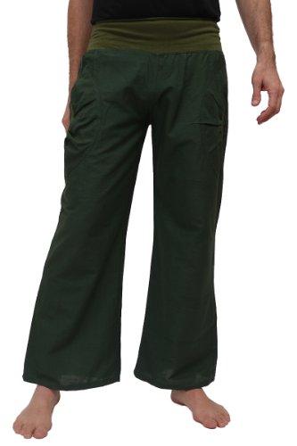 Yogahose aus Baumwolle, Pumphose, mit Stretch-Bund und Zwei praktischen Taschen - perfekt für Yoga und als Haremshose - Unisex für Männer und Frauen, S/M, Grün