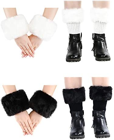 4 Pairs Women Faux Fur Trim Boot Cuff Short Furry Cuff Top Cover Leg Warmer and Wrist Warmer product image