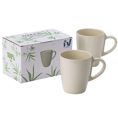 #11 Bambus Tassen Set 2 Stück spülmaschinengeeignet ohne Schadstoffe Bio Geschirr Tasse Becher Kaffeetasse Kaffeebecher Trinkbecher Camping