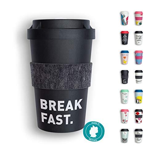 heybico Coffee to go Becher Made in Germany mit Filz-Manschette | Frei von Melamin & ohne Bambusfasern | Biologisch abbaubar & kompostierbar (Breakfast)