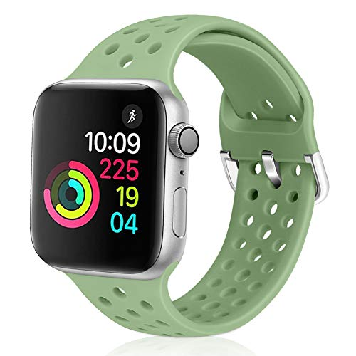 Vodtian - Cinturino Sportivo per Apple Watch, 38 mm, 40 mm, 42 mm, 44 mm, Morbido Silicone Traspirante, Compatibile con iWatch Serie 5/4/3/2/1 per Donne e Uomini, Verde Menta, 42mm/44mm