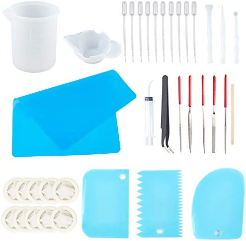 OLYCRAFT 47PCS Resin Making Tools Kit Silicone Measuring Cup Mixing Set Silicone Mat Needle product image