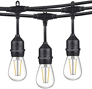 Dependable Direct 36FT Waterproof Outdoor Heavy Duty LED String Lights Set, Commercial Grade Strand with 12 Hanging Sockets, 12 of 1.5W Vintage LED Edison Glass Bulbs 2200K Warm White Light