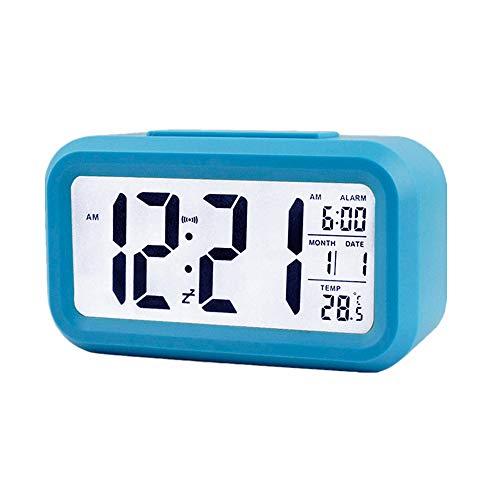 Lidylinashop led Uhr funkwecker mit projektion Projektionswecker Projektionsuhr Schlafzimmer Uhr Kinderwecker Digitaluhren Nacht Nachttischuhr Tischuhr Bad Uhr Blue