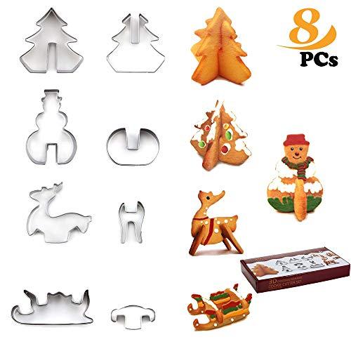 ZoneYan Formine Biscotti Natalizie in 3D, Acciaio Inox Stampi Biscotti,Motivi:Albero di Natale, Pupazzo di Neve, Slitta, Alce