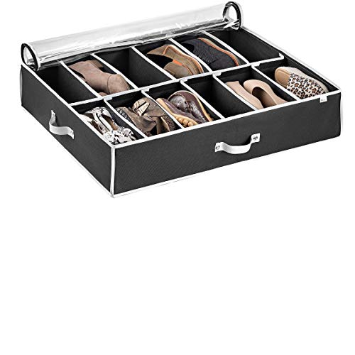 Under Bed Shoe Storage Organizer (12 Pairs) Under Bed Storage for Shoes, Customizable Slots for Boots, Clothes Blanket/Comforter Underbed Shoe Storage Containers with Handles, Dual Zipper Clear Window