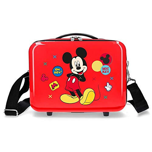 Disney Mickey Enjoy the Day Oh Boy Beige Beige Hard side Carry-on Suitcase Luggage, 37.0 liters, 55 cm, White