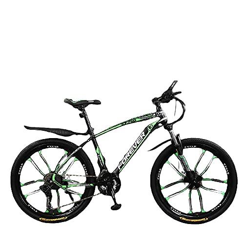 Bicicleta, Niños Y Niñas, Fuerte Veloz Rápido, Vehículo Todoterreno De La Montaña-Diez Cuchillos Verde Negro_24 Pulgadas 24 Velocidades,Bicicleta De Montaña Eléctrica