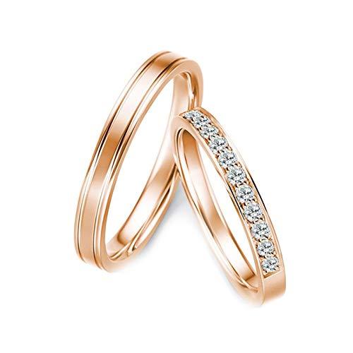KnBoB Eheringe Verlobungsringe Linie Diamant 0.28ct 18K Rose Gold Ringe Größe Damen 54 (17.2) & Herren 58 (18.5)